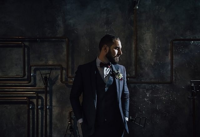 Perth Award Winning Documentary Wedding Photographer Adam Levi Browne Groom Portrait at the Trustee Angel Cut Bar in Perth CDB