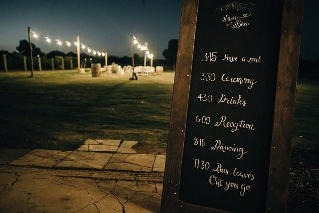 Chalkboard displays timeline for wedding at Albion on Swan