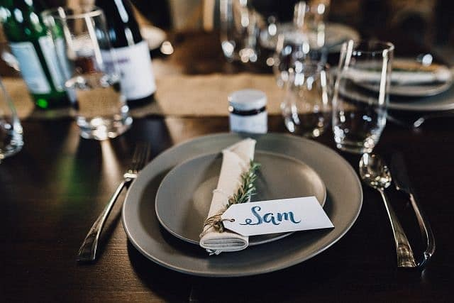 plate setting & names for wedding in shed for reception at Albion on Swan