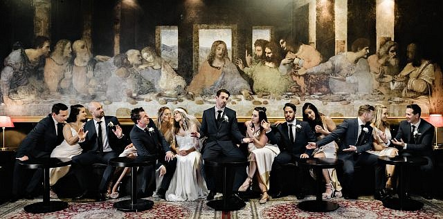 Perth Award Winning Documentary Wedding Photographer Adam Levi Browne Last Supper Bridal Portrait at The Good Shepherd Bar Leederville