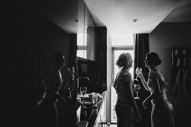 Bridesmaids Drinking Champagne Fraser Suites