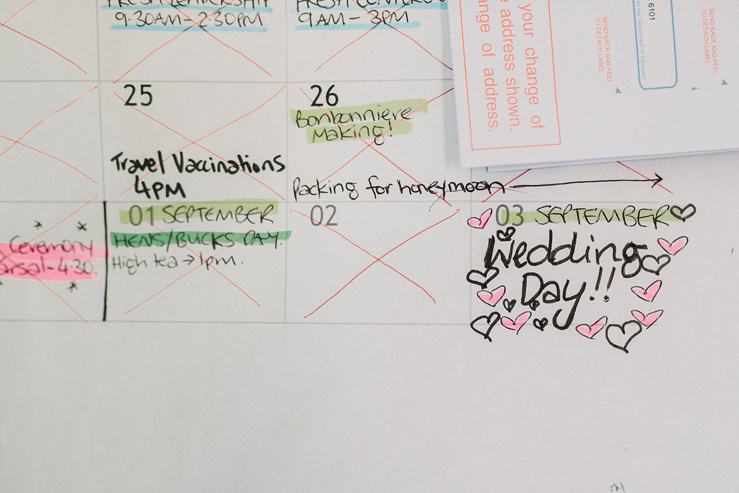 Calendar Date Of Wedding