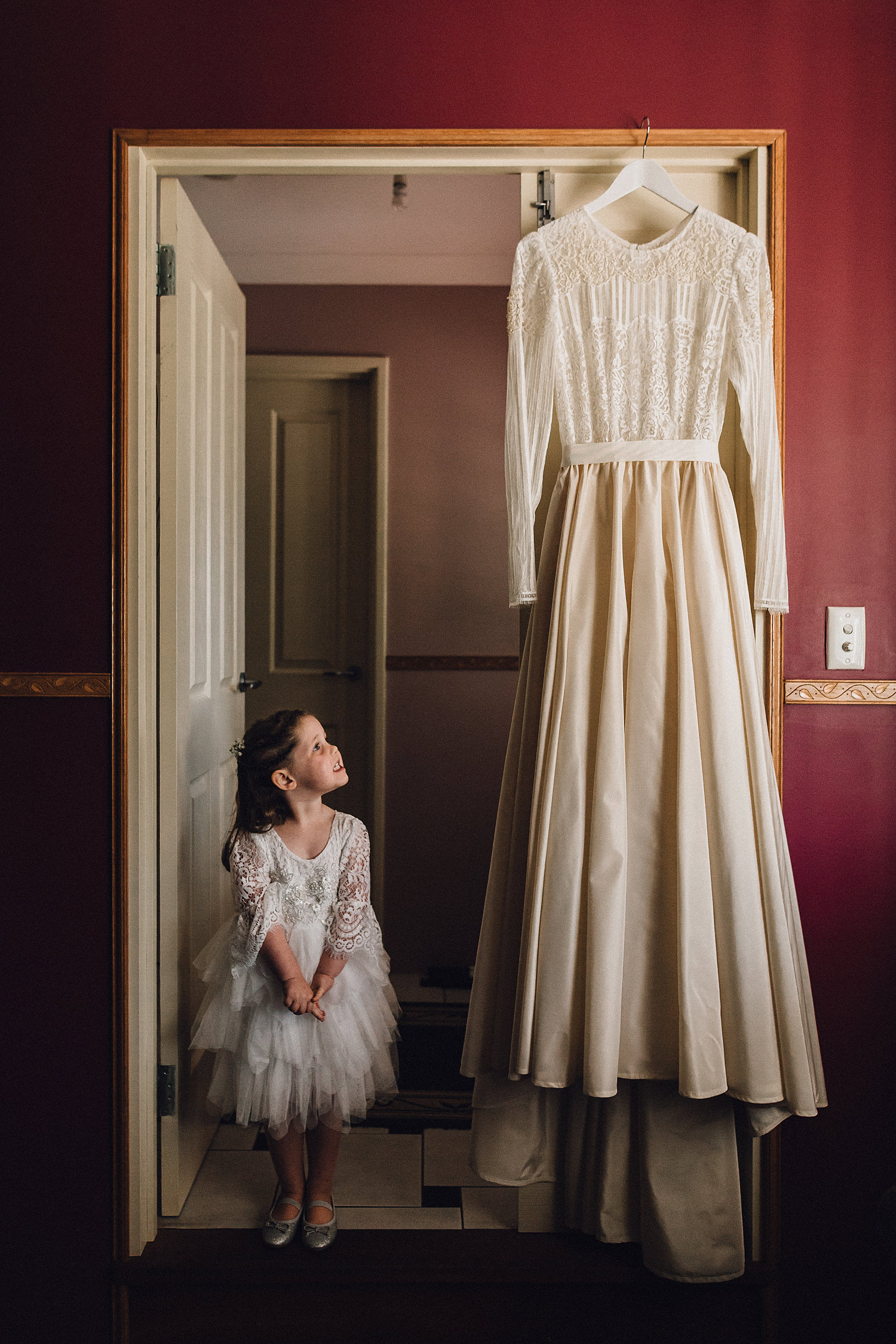 Flower Girl Amazed By Wedding Gown