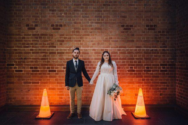 Urban Bride Groom Image Cones Light