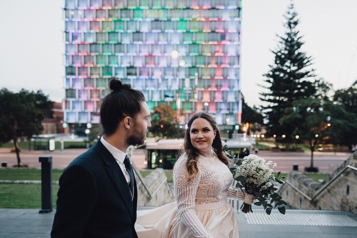 Rainbow Building Background Moment Wedding