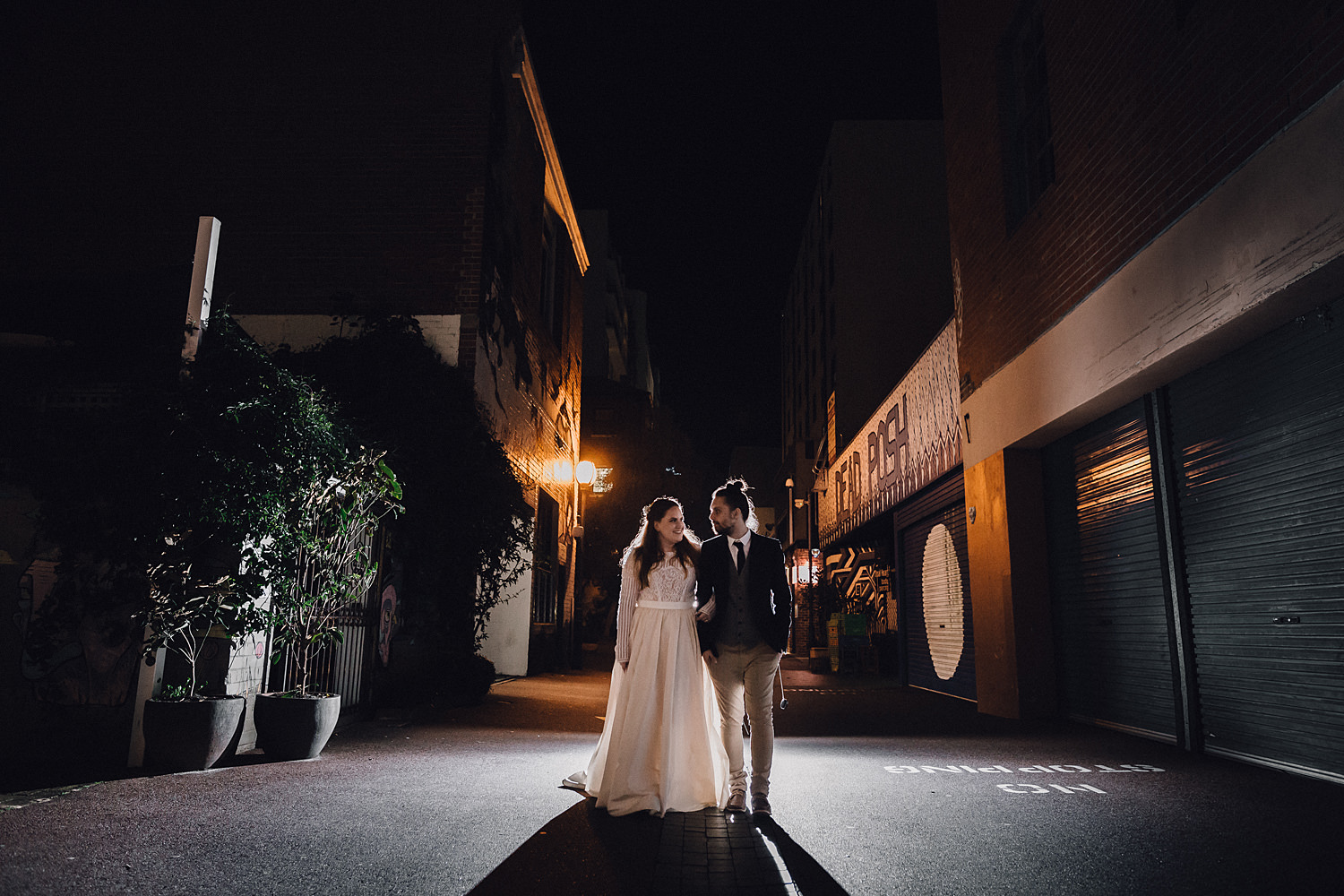 Wedding Couple Backlit Urban Wolf Lane