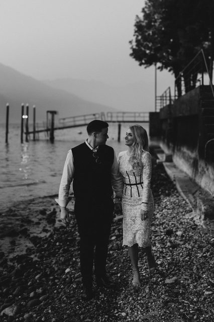Lake Como Black White Photo