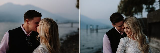 Couple Kiss Lake Side Como Engagement