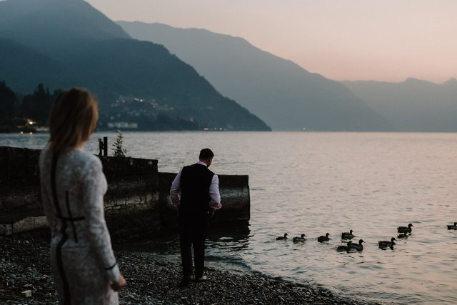 Ducks Lake Como Italy Couple