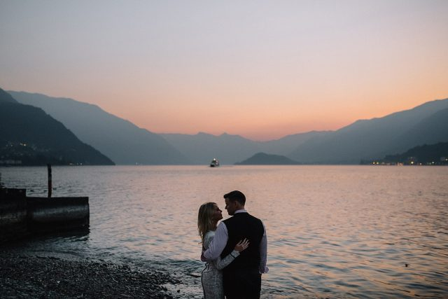 Sunset Engagement Shoot Lake Como
