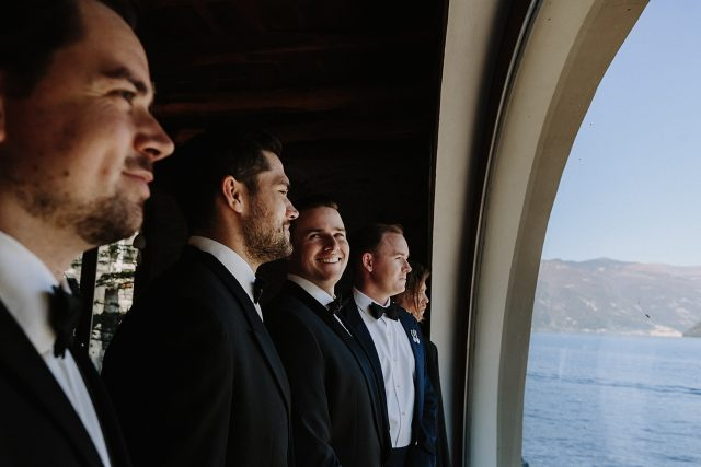 Groomsmen Lake Como Italy Window Mountain