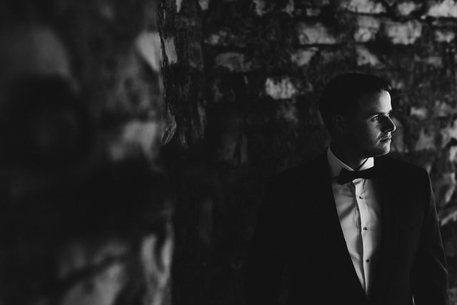 Groom Moody Portrait Lake Como Wedding