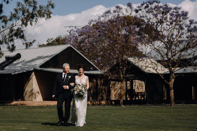 Old Broadwater Farm Bride Dad Walking Ceremony