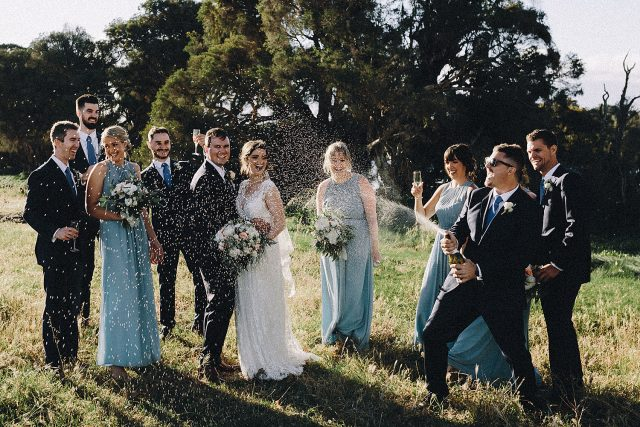 Champagne Spray Busselton Wedding Bridal Party