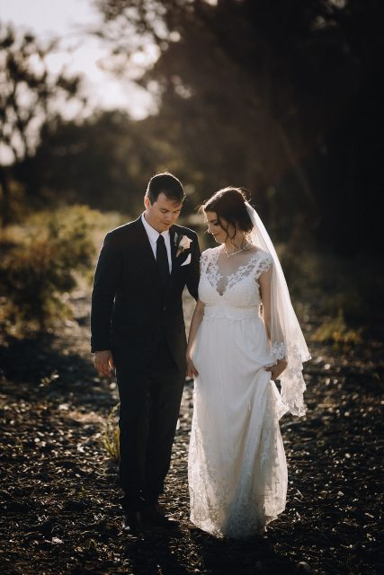Groom Walks With Bride Down South Western Australia