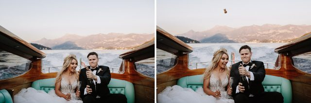 Lake Como Boat Bride Groom Pop Champagne