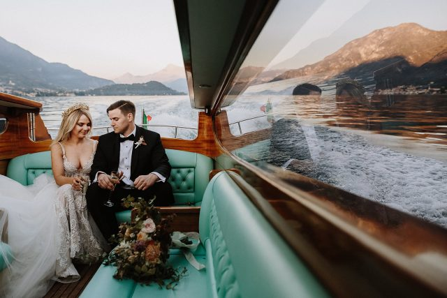 Lake Como Boat Bride Groom