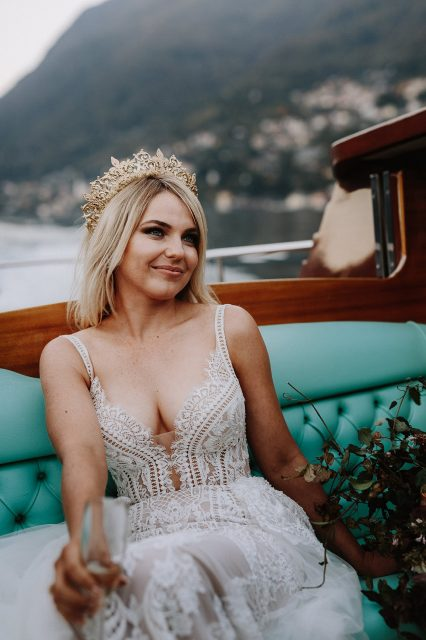 Lake Como Boat Bride Mountain Champagne