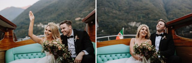 Lake Como Boat Bride Groom Arrive Funny