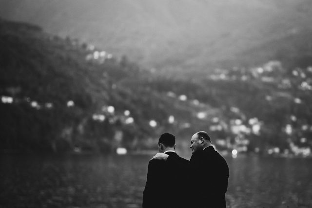 Father Son Moment Lake Como Wedding