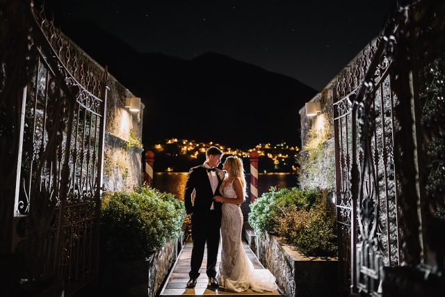 Vila Regina Teodolinda Lake Como Wedding Backlit Night Photograp