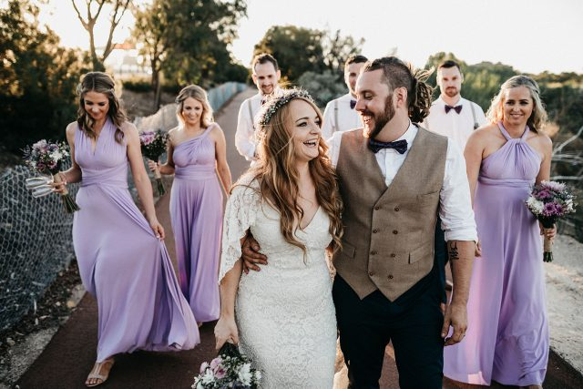 Bridal Party Laughing Walking Natural