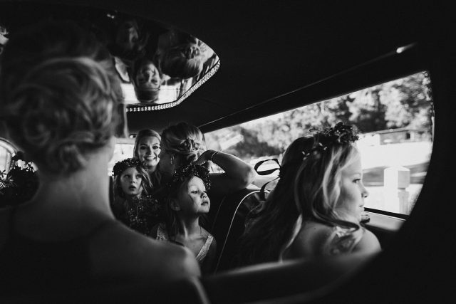 Flowergirl In Car Looking Out Window