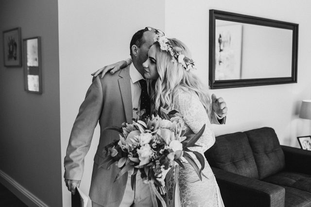 Documentary Wedding Photographer Dad Bride First Look