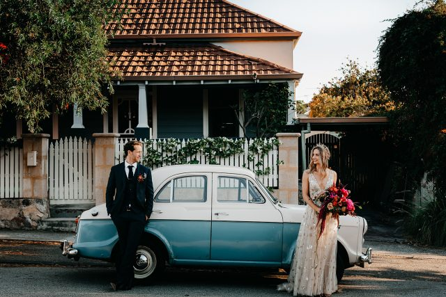 Old Cute Car Vintage Fremantle Streets Bride Groom Wedding Perth