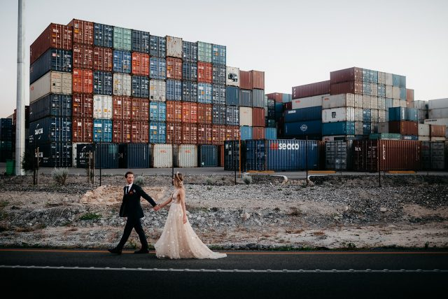 Wedding Bride Groom Industrial Sea Container Fremante Street