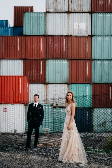 Wedding Bride Groom Industrial Sea Container Fremantle Street